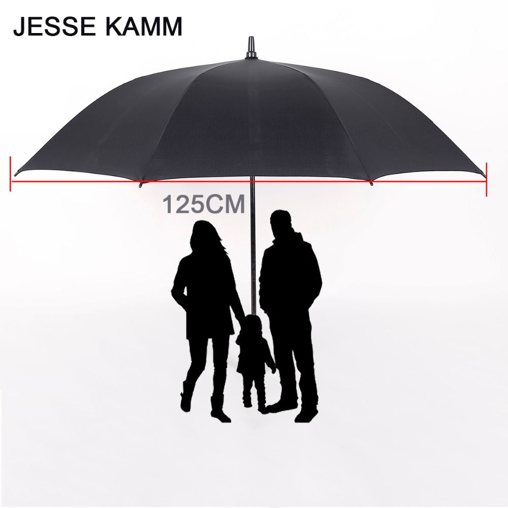 JESSEKAMM Large Strong <font><b>Golf</b></font> Long hand Stick Rain Auto Open Umbrellas Suit For 2-3 People Family Student 125CM 190T Pongee Canopy