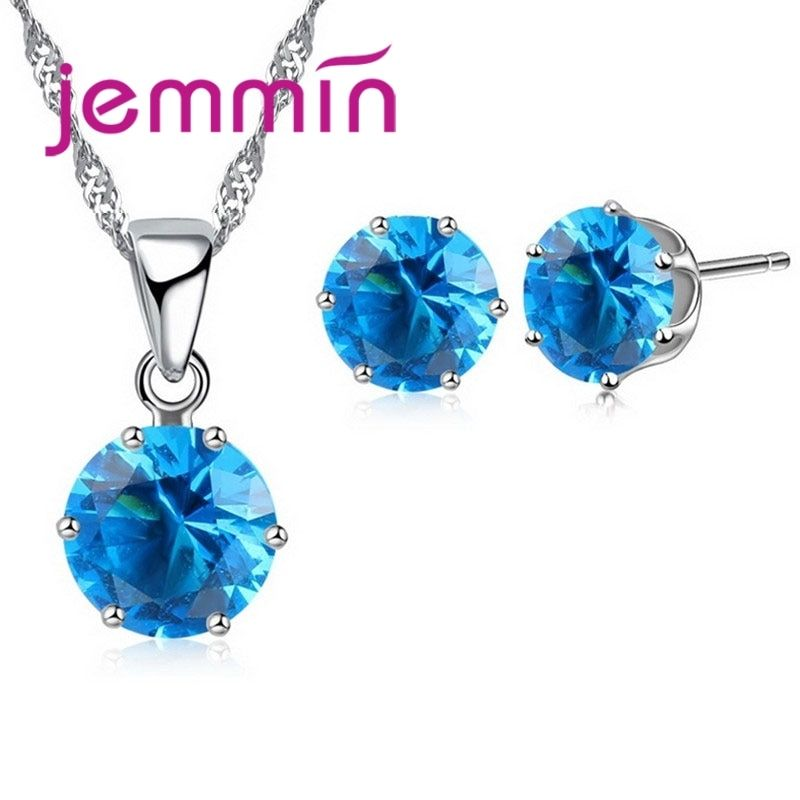 Jemmin New Arrival Factory Price 8 Colour Crystal 925 Sterling Silver Stud Earrings Necklace Set Women Party Jewelry Set