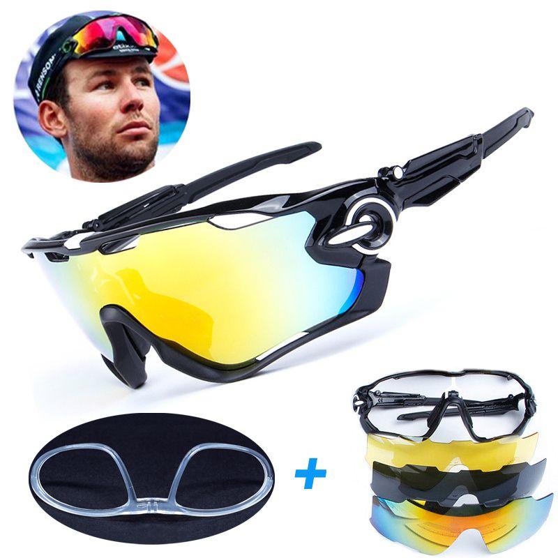 4 Lens Brand New Jaw Outdoor Sports Cycling Sunglasses Eyewear TR90 Men Women <font><b>Bike</b></font> Bicycle Cycling Glasses Goggles