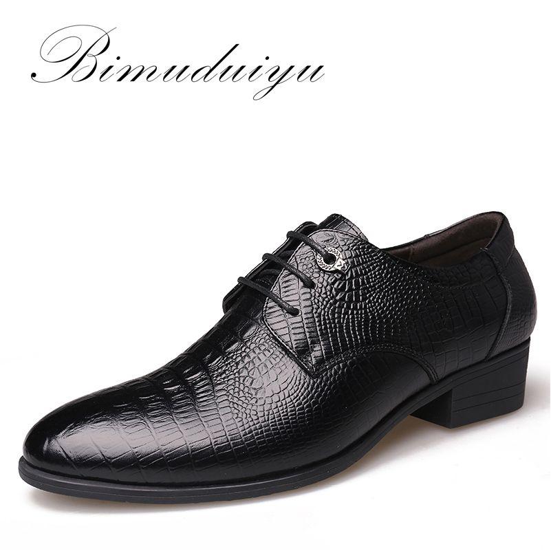 Bimuduiyu estilo cocodrilo hombres de negocios vestido Zapatos Cuero auténtico transpirable Oxford Zapatos moda puntiaguda hombres pisos boda