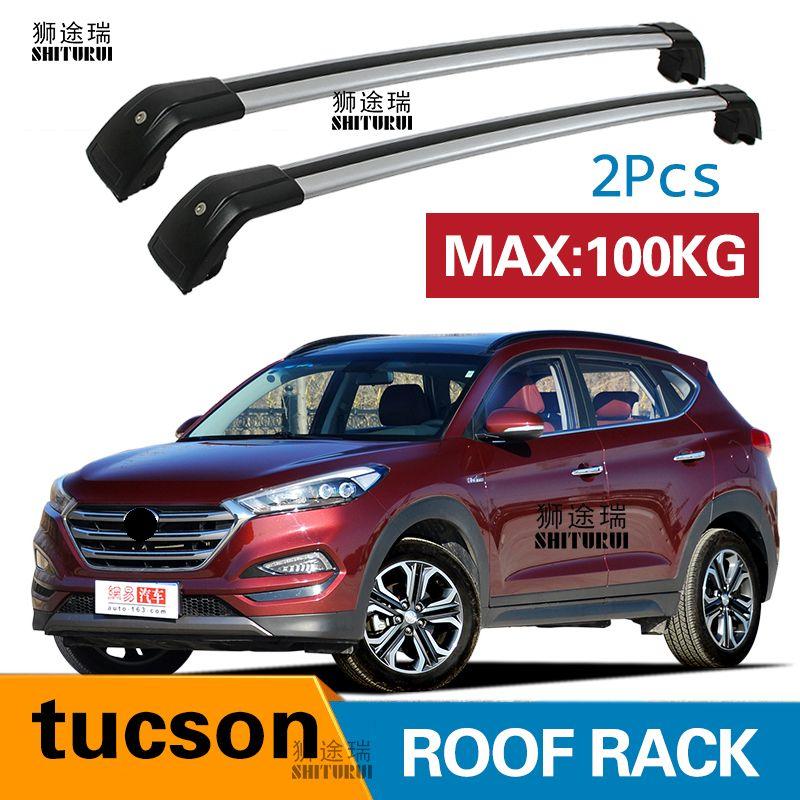 SHITURUI 2Pcs Roof bars For Hyundai  tucson   SUV 2015-2018  Aluminum Alloy Side Bars Cross Rails Roof Rack Luggage