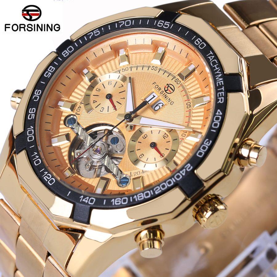 Forsining Mens bayan kol saati Top Luxury Brand Men Tourbillon Watch Automatic Mechanical Men Gold Wrist Watch Relogio Masculino
