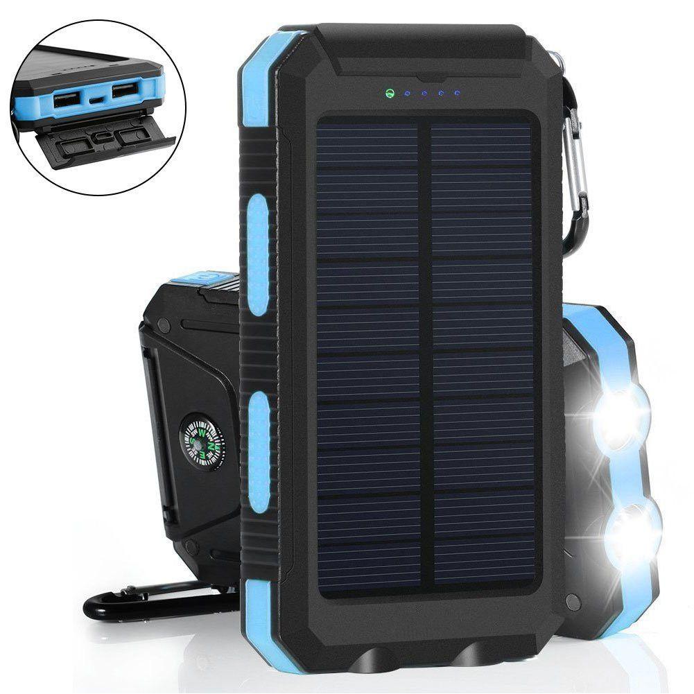 Waterproof Solar Power Bank 20000 mAh Dual USB External Polymer Battery Charger Outdoor Light Lamp Powerbank