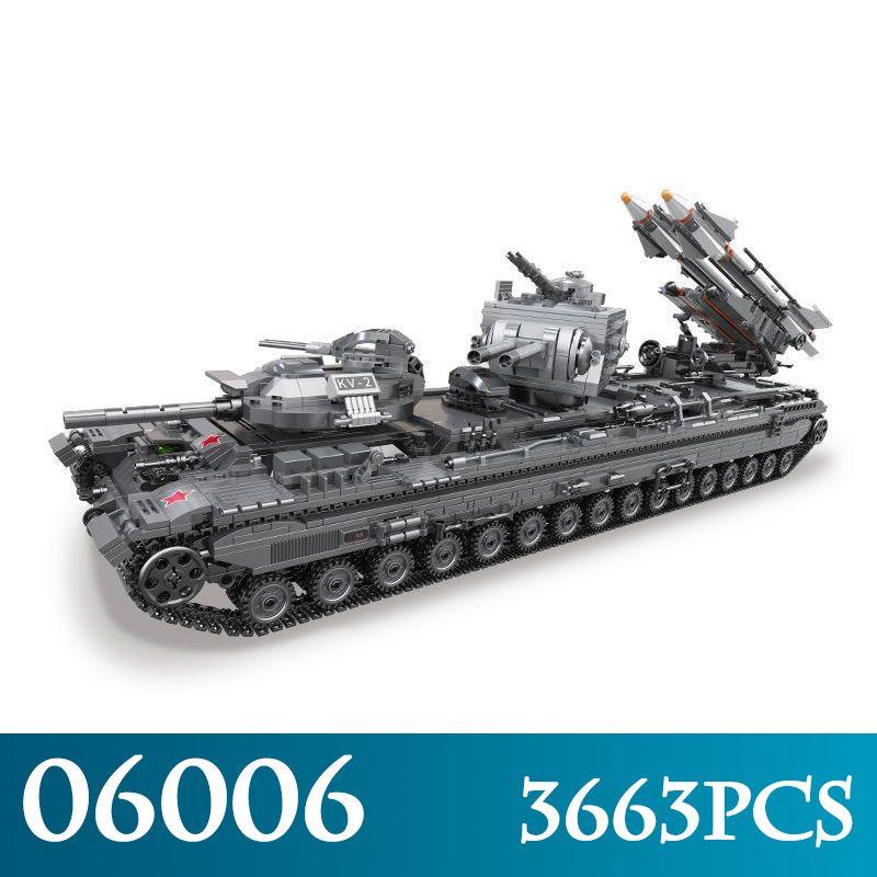 Creative MOC Military Series 06006 3663Pcs The KV-2 Tank Model Building Blocks Compatible LegoINGLYs Bricks Toys For Boy