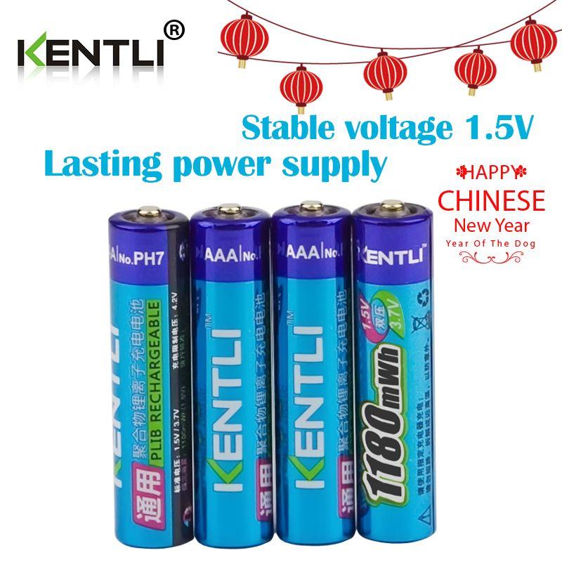 KENTLI 4 stücke kein memory-effekt 1,5 v 1180mWh AAA lithium li-ion wiederaufladbare batterien batterie