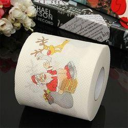 Santa Claus Imprimé Joyeux Noël Papier Toilette Tissu Table Chambre Décor Partie Ornement DIY Artisanat Papier Maison de Vacances Fournitures