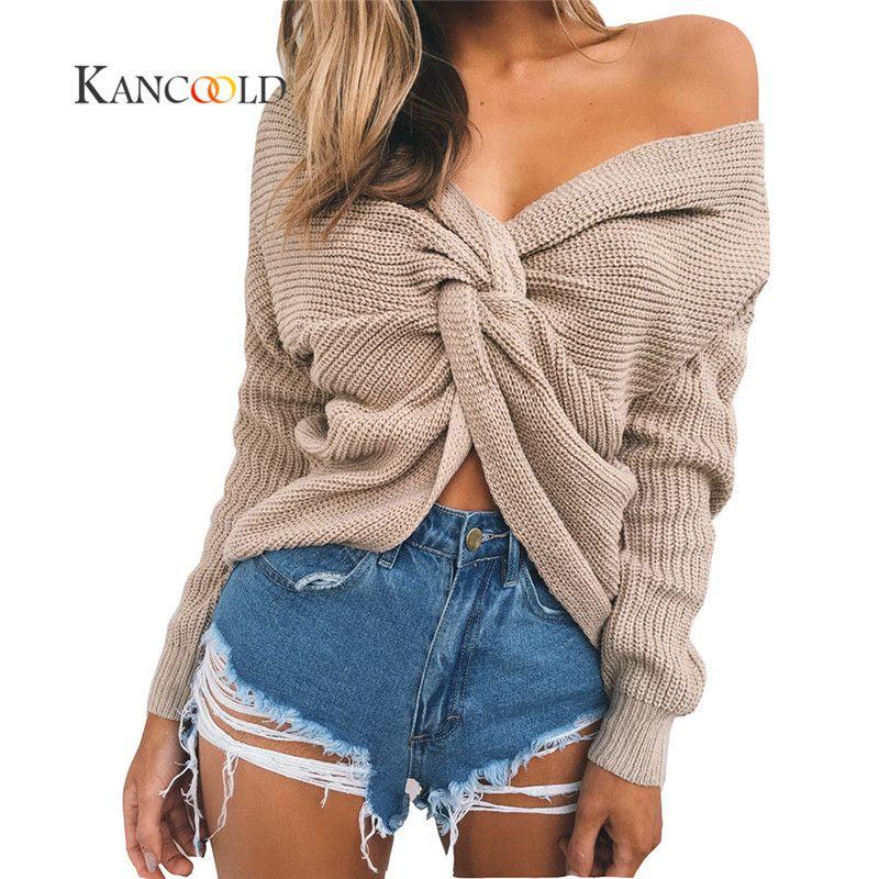 KANCOOLD 2017 fashion sweater 3 farben V Verdrehte Zuruck Pullover Frauen Jumper Pullover Langarm-strickpullis pull femme oct9