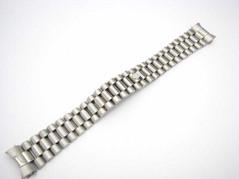 CARLYWET 20mm solide extrémité incurvée vis liens déploiement fermoir en acier inoxydable Bracelet de montre Bracelet Bracelet pour Rolex président