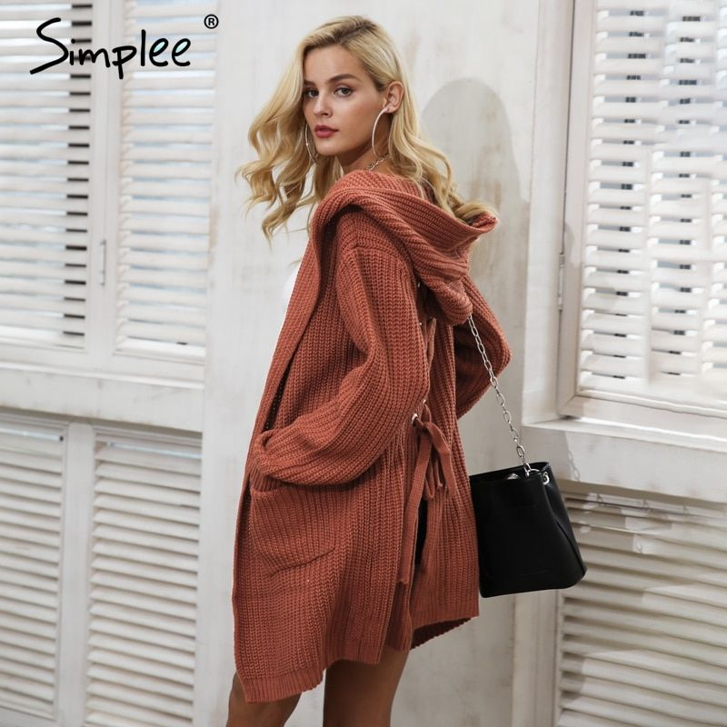 Simplee Hooded knitting long cardigan sweater Women jumper back lace up sweater Female coat 2017 warm knitted pocket outerwear