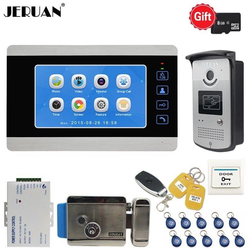 JERUAN 7 inch Video Door phone doorbell system kit Voice/Video Record Monitor 700TVL RFID Waterproof Camera with lock Intercom