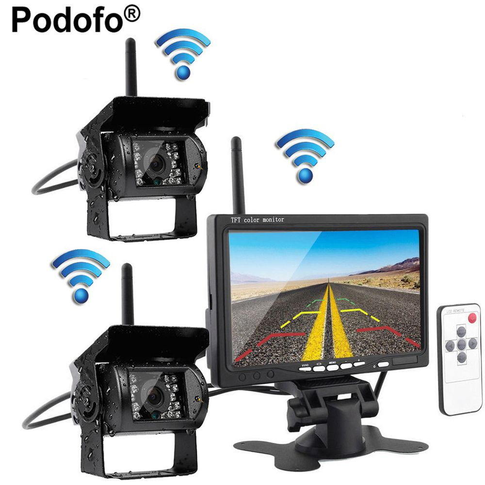 Podofo Wireless Car Reverse Reversing Dual Backup Rear View Camera for Trucks Bus Excavator Caravan RV Trailer with 7