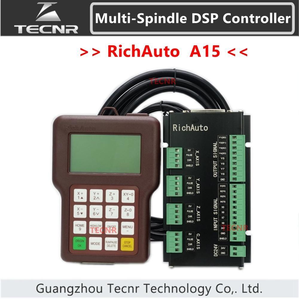 TECNR RichAuto A15 Multi-Spindel CNC DSP controller A15S A1E 3 achse offline USB motion control system für cnc router