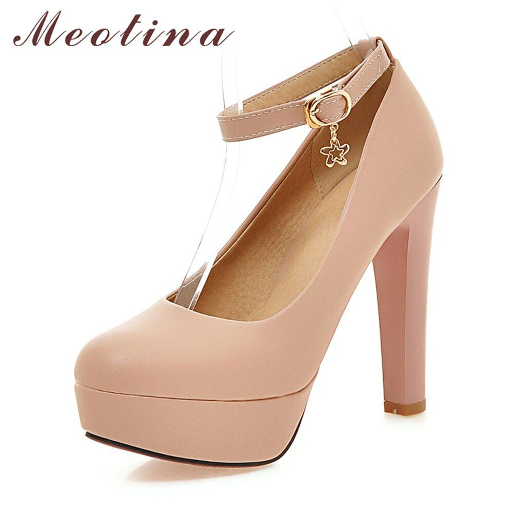 Meotina/Женская обувь на платформе Высокая туфли-лодочки на каблуке Ремешок на щиколотке extreme Высокие каблуки Пикантные туфли для невесты Бела...