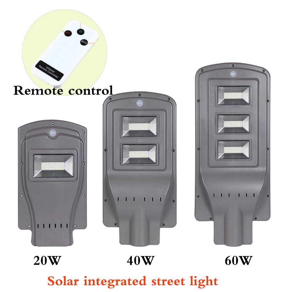 New Solar Street Light Integrated Outdoor Lighting 20W 40W 60W LED Solar Intelligent Lamp Head With Pick arm