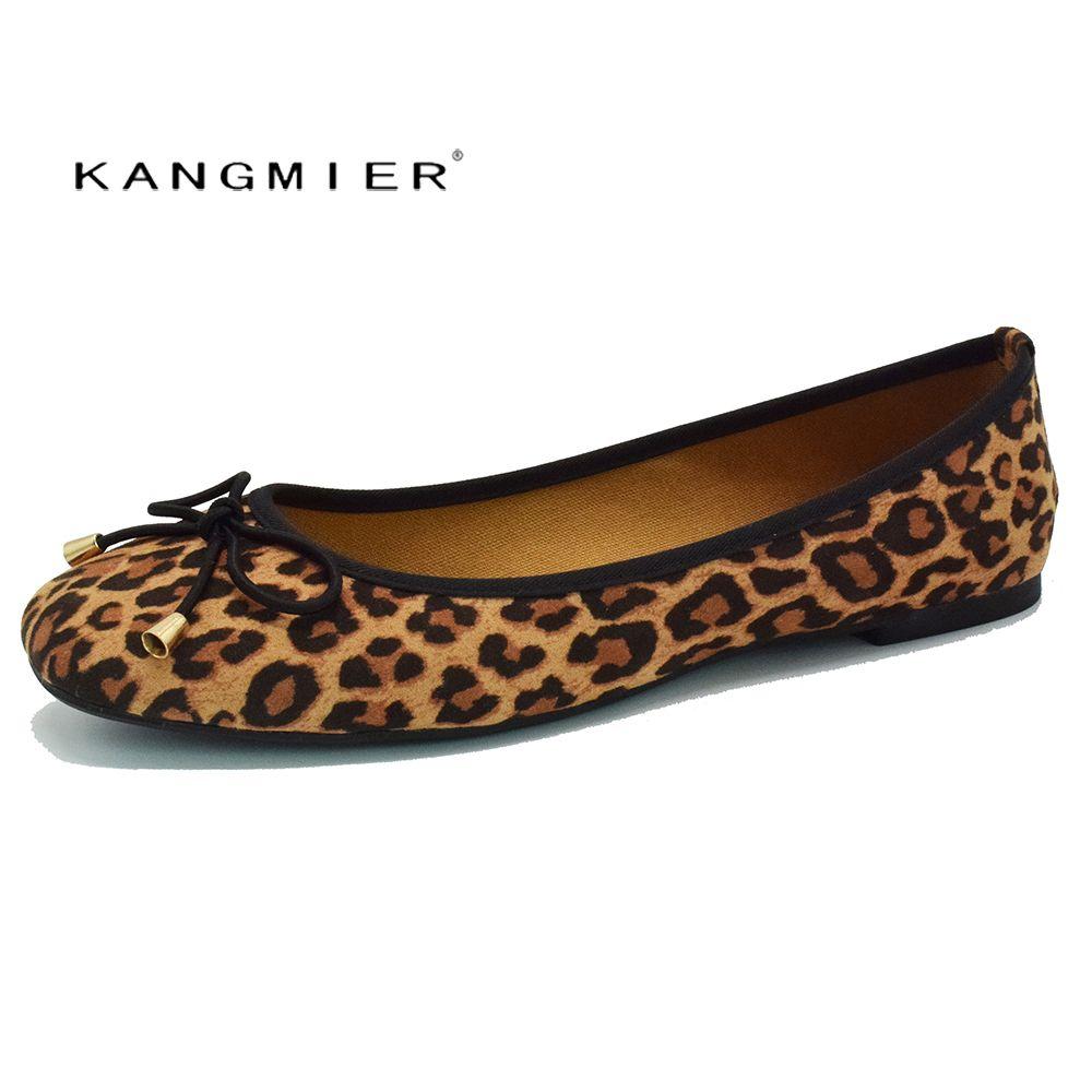 shoes women suede Leopard ballet flat shoes square toe bowtie slip on KANGMIER comfortable autumn ballerina flats plus size