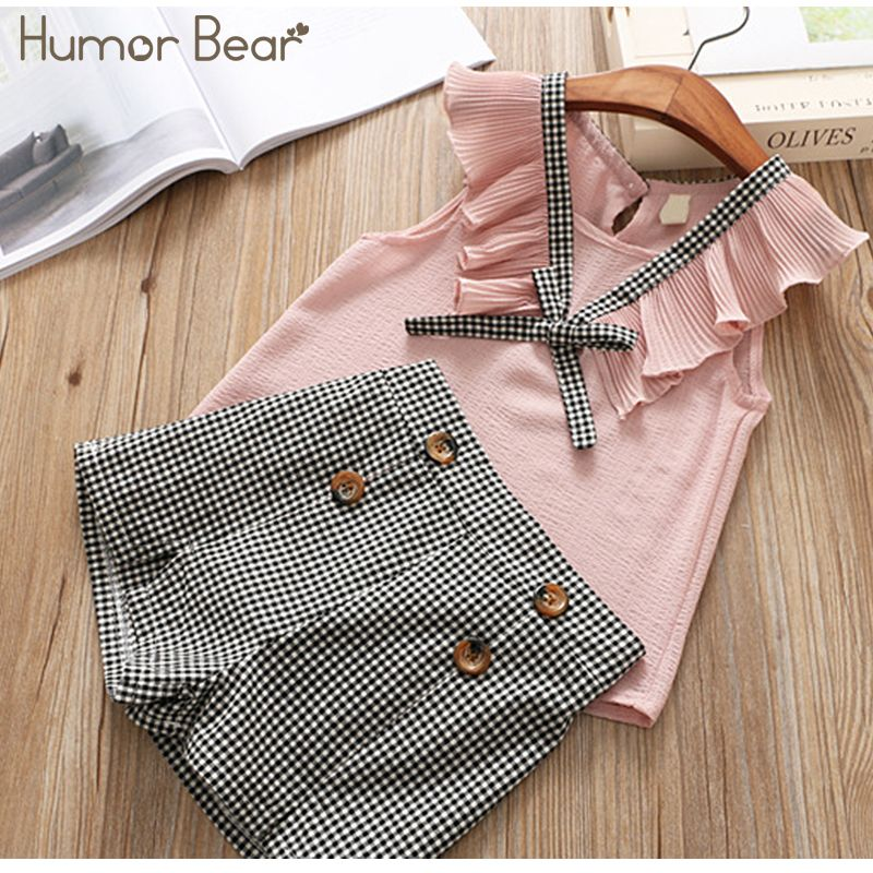 Humor Bear Girls Summer Set 2018 Kids Clothes Girls Clothing Sets Two-Piece Kids Suit Children's clothes