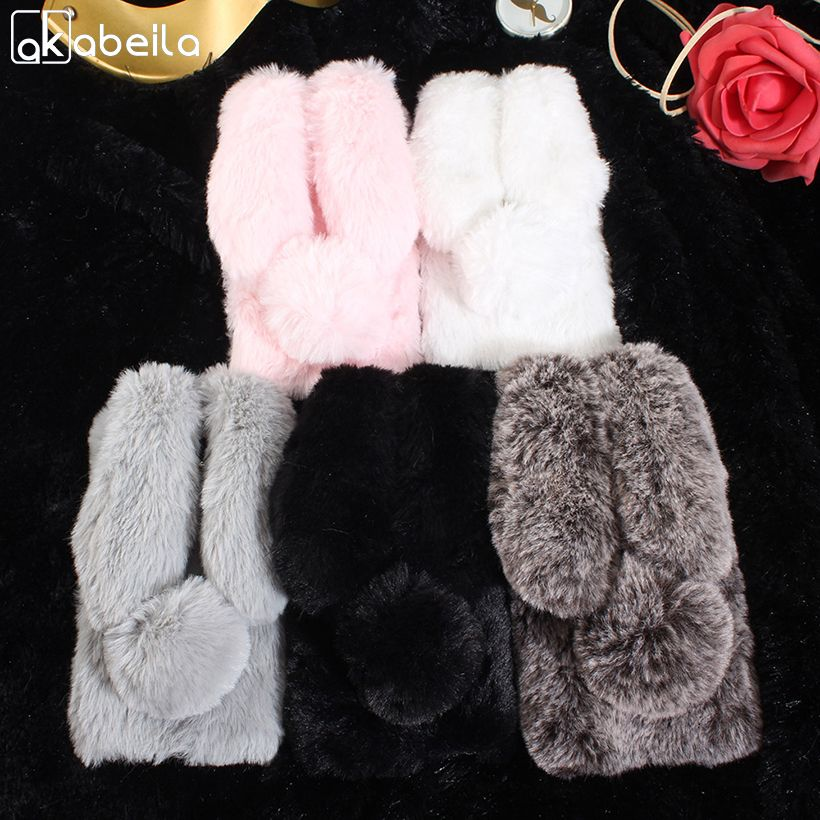 AKABEILA Cases For Huawei Honor 6A Case Silicone Play Honor Holly 4 DLI-TL20 DLI-AL10 5.0 inch Rabbit Fur Soft Honor 6a Cover
