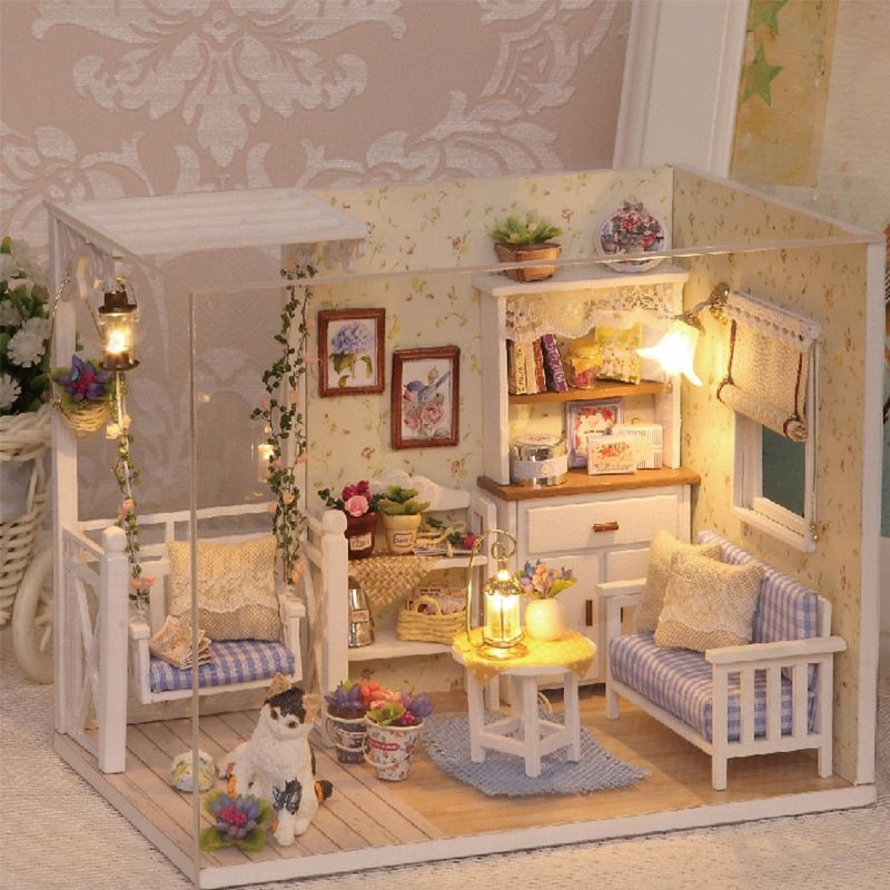 Doll <font><b>House</b></font> Furniture Diy Miniature Dust Cover 3D Wooden Miniaturas Dollhouse Toys for Children Birthday Gifts Kitten Diary H013