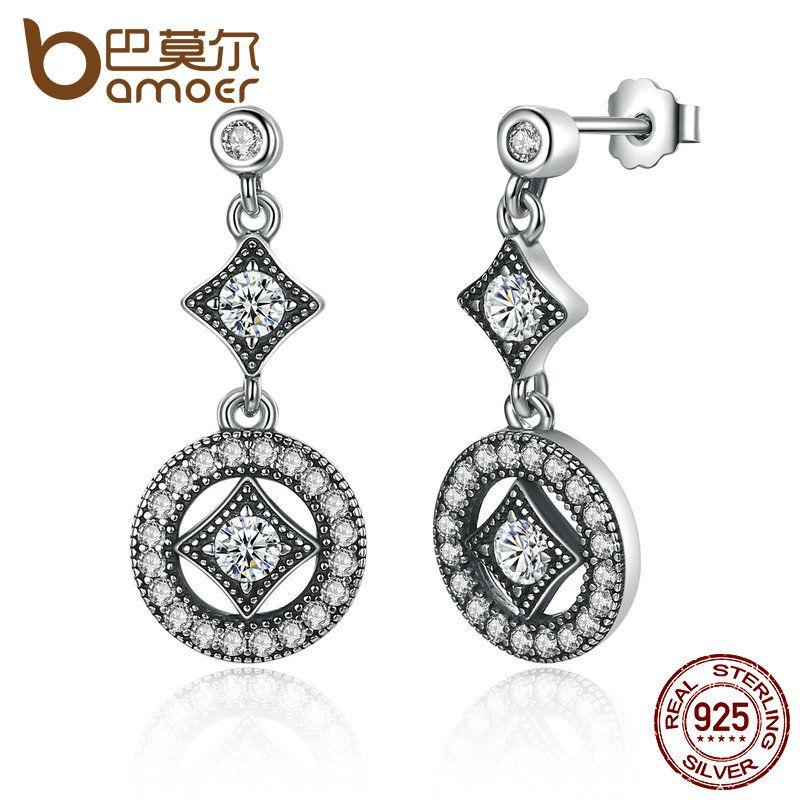BAMOER Stunning 925 Sterling Silber mit AAA Zirkon VINTAGE ALLURE Drop Ohrringe für Frauen Mode Schmuck Engagement PAS492