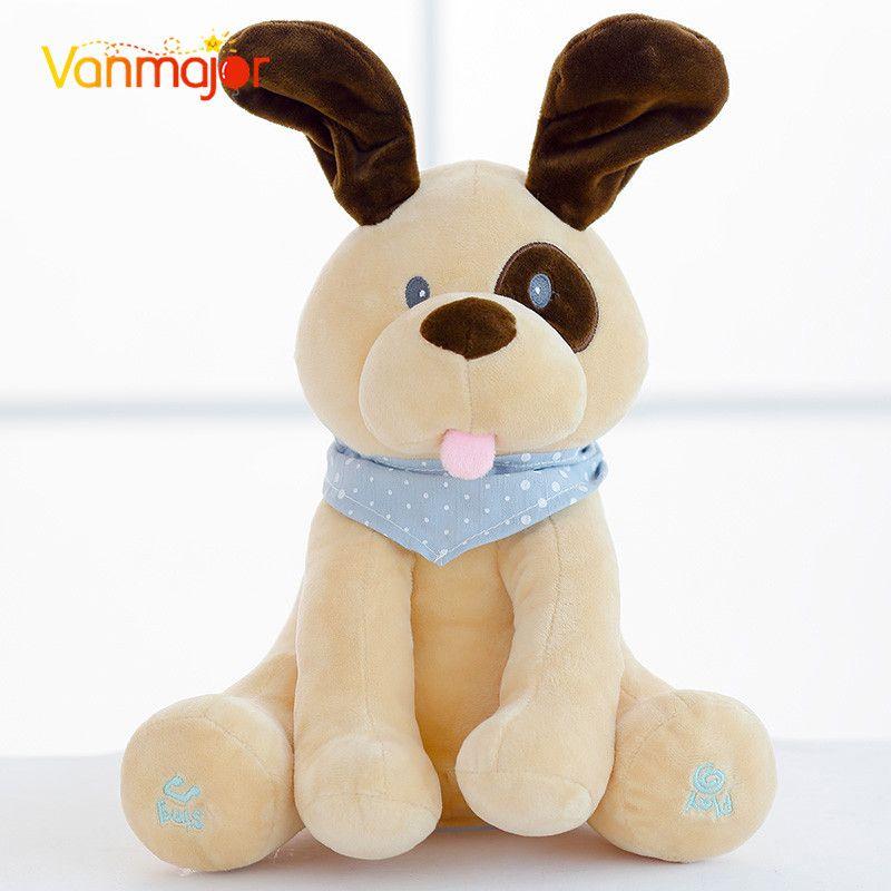 30 cm peluche et peluche Animal chaud chiot électrique chien jouer cache chercher mignon dessin animé jouets pour enfants enfants cadeau d'anniversaire