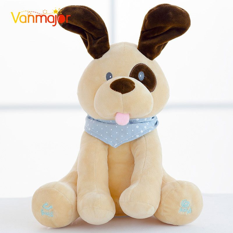 30cm Stuffed & Plush Animal Hot Peek A Boo Electric Puppy Dog Play Hide Seek Cute Cartoon Toys For Children Kids Birthday Gift