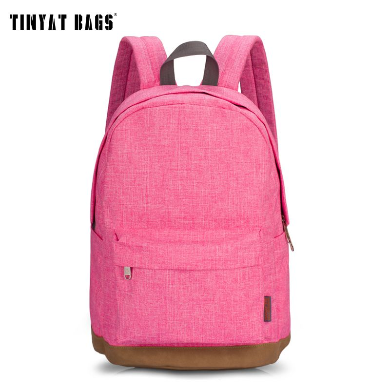 Tinyat холст Для женщин школьные сумки для девочек-подростков студент Повседневное рюкзаки для девочек 14 дюймов ноутбук рюкзак T101 розовый