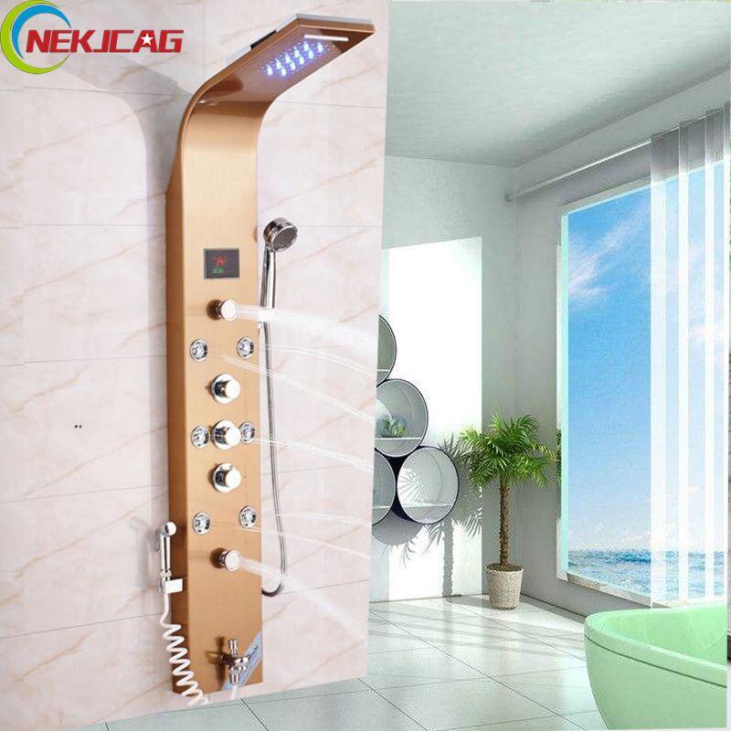 Stainless Steel Led Shower Column Wall Mounted Shower Panel Head Shower+Tub Spout+8 pcs Jets Massage System + Bidet