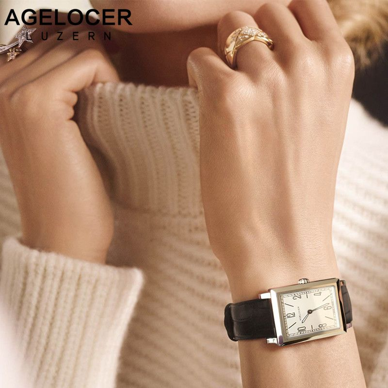 Agelocer Top Brand Luxury Watches Gold Luminous Quartz-watch Stainless Steel Leather Band Watches Women's Watch Relogio Feminino