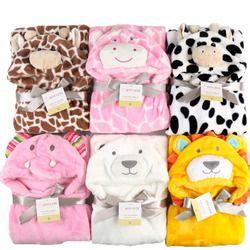 Saco de dormir del bebé de la historieta ropa del bebé recibiendo manta animal Albornoz Toalla de baño del abrigo capa lecho