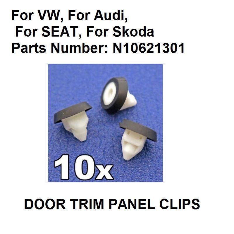 x10 For VW, For Audi, For SEAT, For Skoda Door Trim Panel Clips Bodywork & Bumper Screw Grommet Trim Clips- N10621301