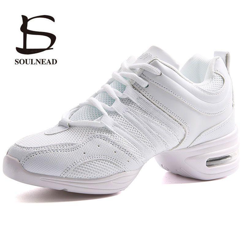 Semelle extérieure souple femme souffle Jazz Hip Hop chaussures sport caractéristique danse baskets blanc noir filles chaussures de danse modernes chaussures de pratique