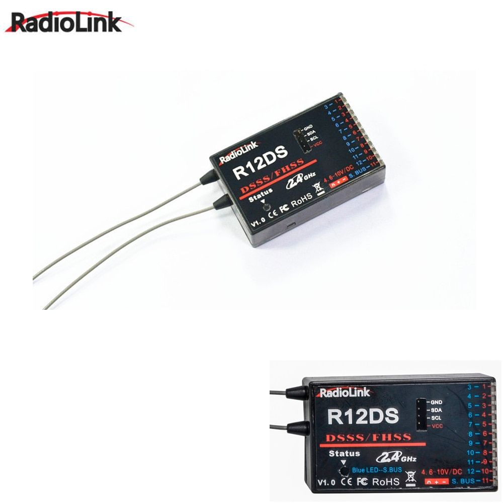 1pcs RadioLink R12DS 12CH 12 Channel Receiver 2.4Ghz For AT10 Transmitter Aircraft Aerial Photography Device