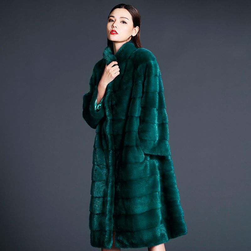 LTGFUR Winter Women's Print Red Flower Mink Coat Contrast Color Real Fur Coat Turn-Down Collar X-Long Loss Mink Coats