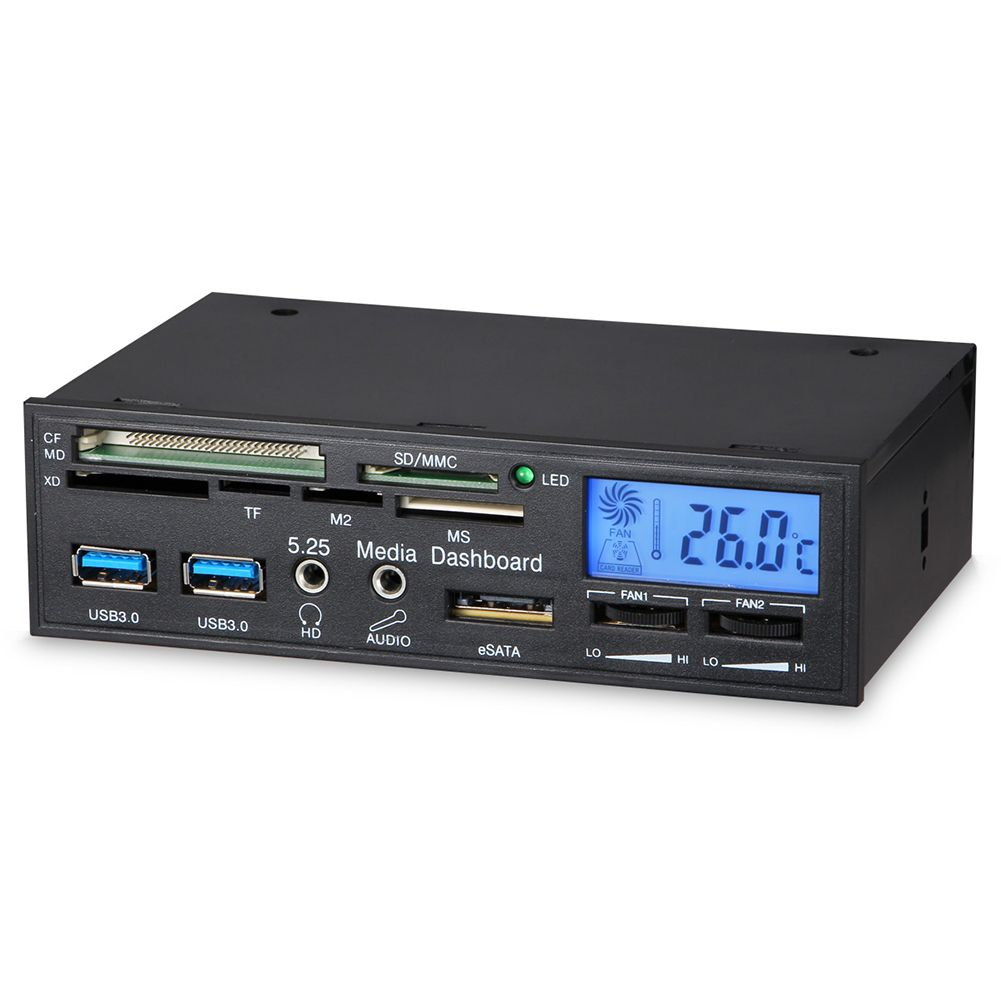Multifuntion 5.25 Media Dashboard Card Reader usb3.0 front panel drive bay desktop computer chassis front panel fan controller