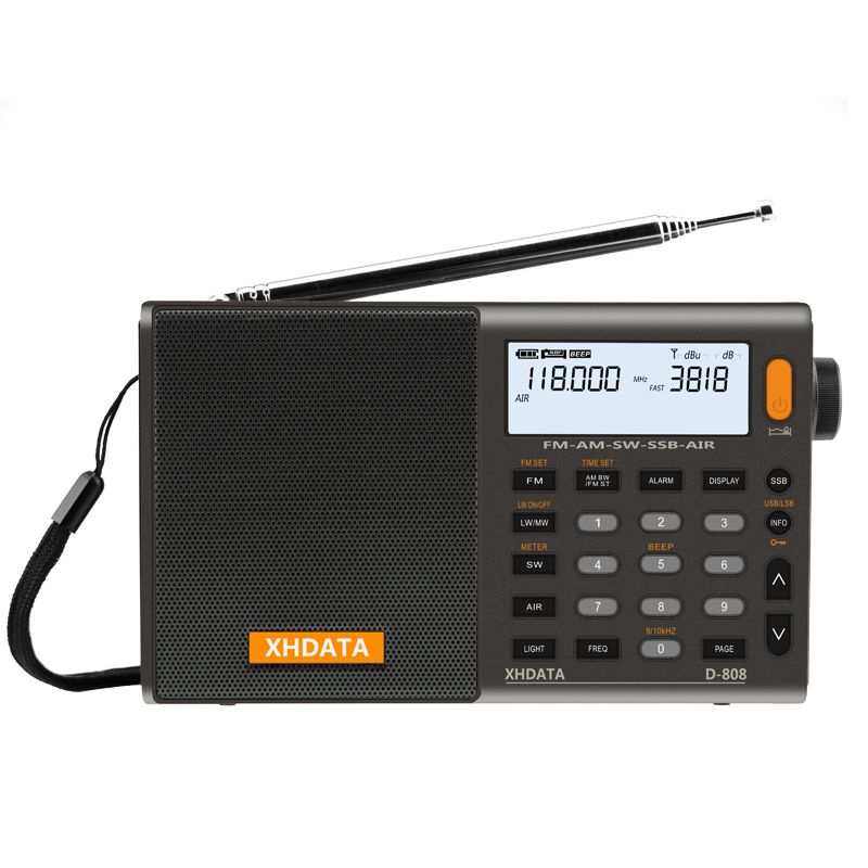 XHDATA D-808 Portable Digital Radio FM stereo/ SW / MW / LW SSB AIR RDS Multi Band Radio Speaker with LCD Display Alarm <font><b>Clock</b></font>