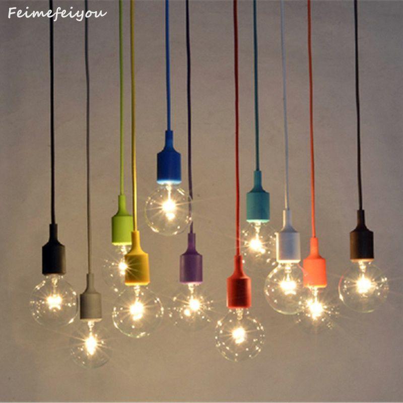 Coloré Silicone Pendentif Lumières E27 Titulaire AC90-260V Moderne Mode DIY Conception Créative Pendentif Lampes 100 cm Cordon de Plafond lampe
