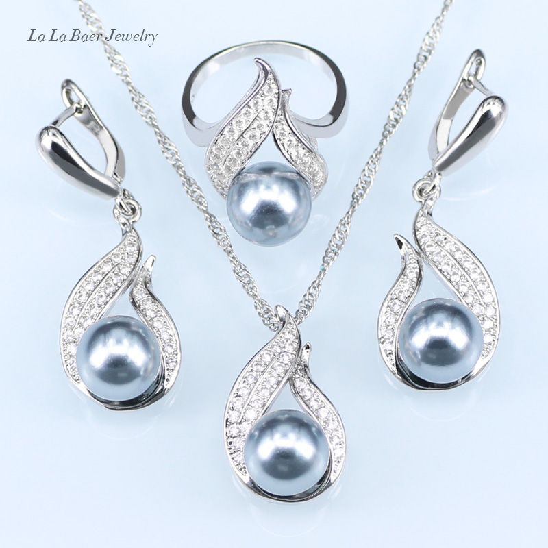 L&B Handmade Silver color Jewelry Hollow Out  Water Drop With Imitation gray Pearl Jewelry Sets For Wedding