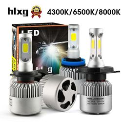 Hlxg 2 Pcs Auto H4 LED H7 H11 H8 9006 HB4 H1 H3 HB3 S2 Phare De Voiture Ampoules 72 W 8000LM Automobiles Lampe 6500 K 12 V 4300 K 8000 K LED
