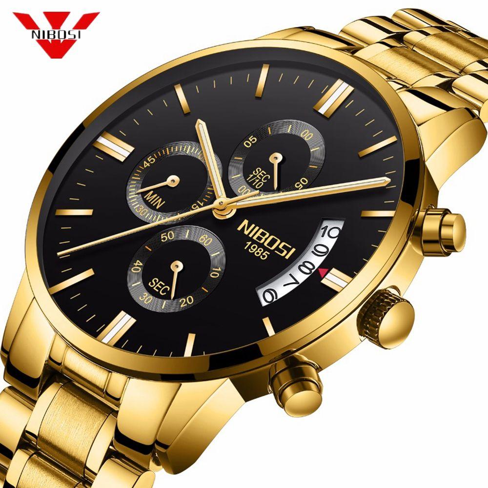 NIBOSI Mens Watches Top Luxury Brand Quartz Military Sport Watch Men Wristwatches Waterproof Male Gold Clock Relogio Masculino