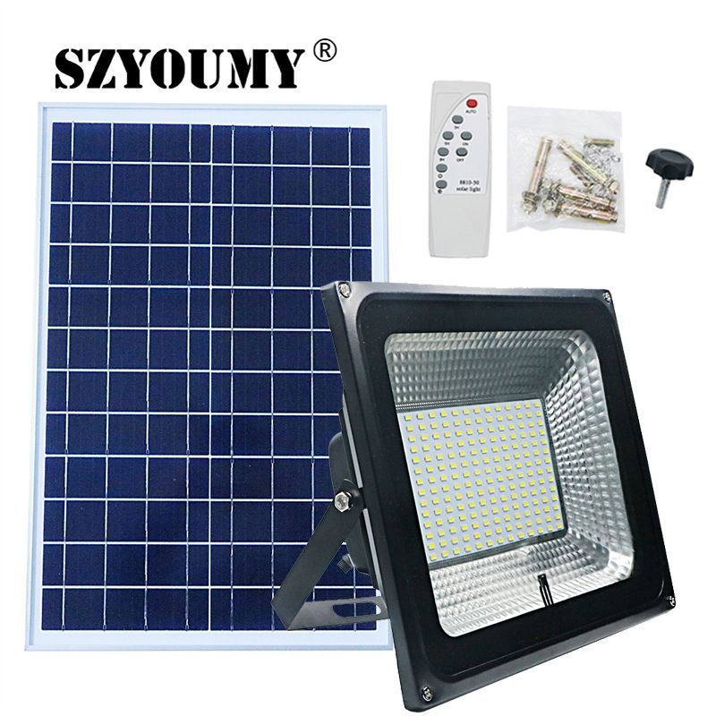 SZYOUMY NEW Arrivals LED Solar Remote Flood Light 100W Led Floodlight Waterproof Emergency Street Garden Lighting IP66