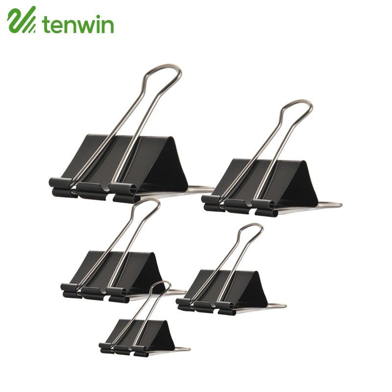 TENWIN Binder Clips Metal Black Notes Letter Paper Clip Office Binding Supplies Securing Clip Product 12 Series For Office