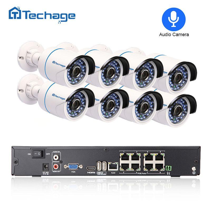 Techage 8CH 1080P NVR Kit POE Security Camera CCTV System 8PCS Outdoor Audio Record Sound IP Camera P2P Video Surveillance Set
