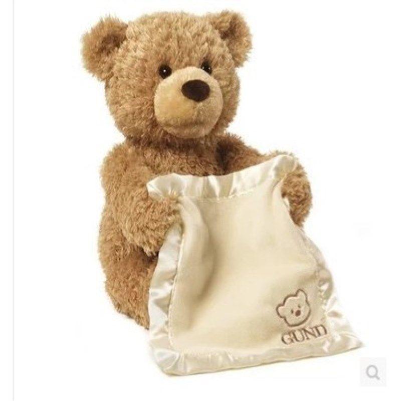 A toy A dream Peek a Boo Teddy Bear Play Hide And Seek Lovely Cartoon Stuffed Kids Birthday Gift 30cm Cute Music Bear Plush Toy