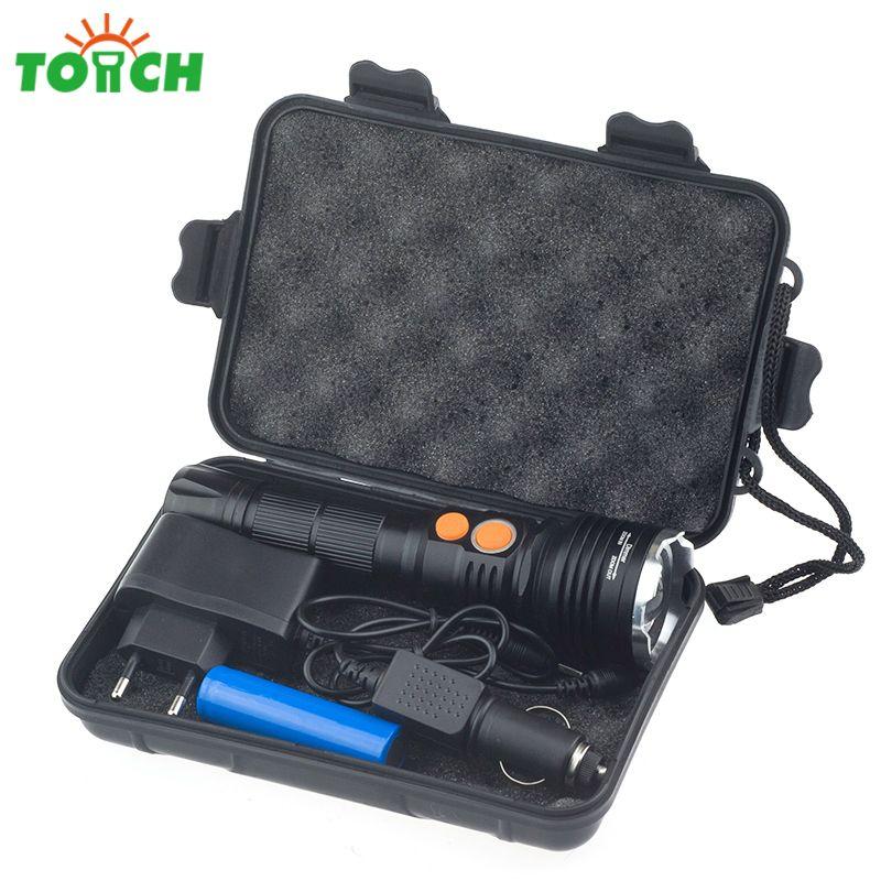 Super Bright Cree xml T6 +Cob Kit Led Flashlight Tail Magnet Hand Lantern Rotating Focus Torch Power Portable Light for Working