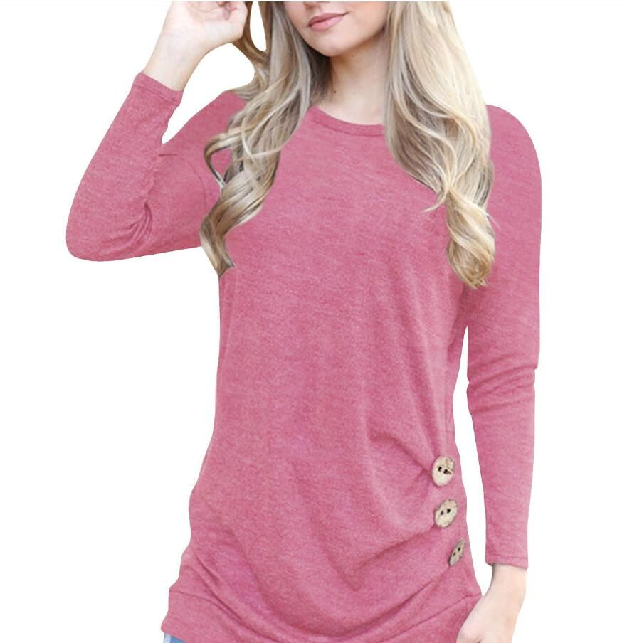 2018 Autumn new round neck bat long-sleeved bottoming T-shirt female