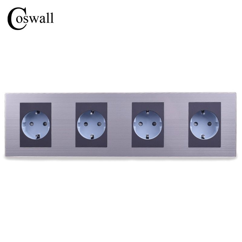 COSWALL 16A EU Standard Quadruple Outlet Luxury Wall 4 Way Power Socket Stainless Steel Panel Electrical Plug AC 110~250V