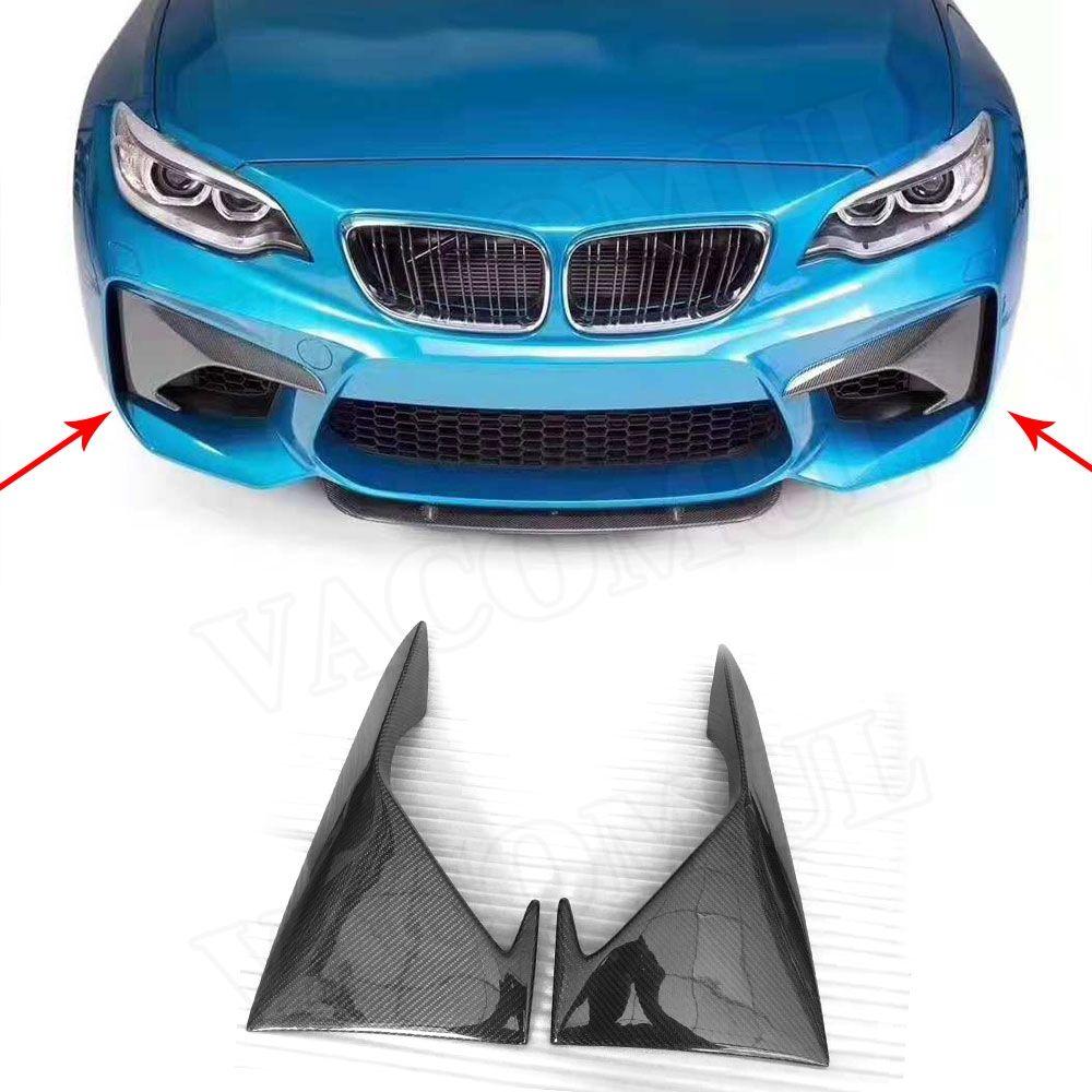2 Series Carbon Fiber Front Bumper Fog Splitters Apron Flaps for BMW F87 M2 Coupe 2 Door 2016 2017 2018
