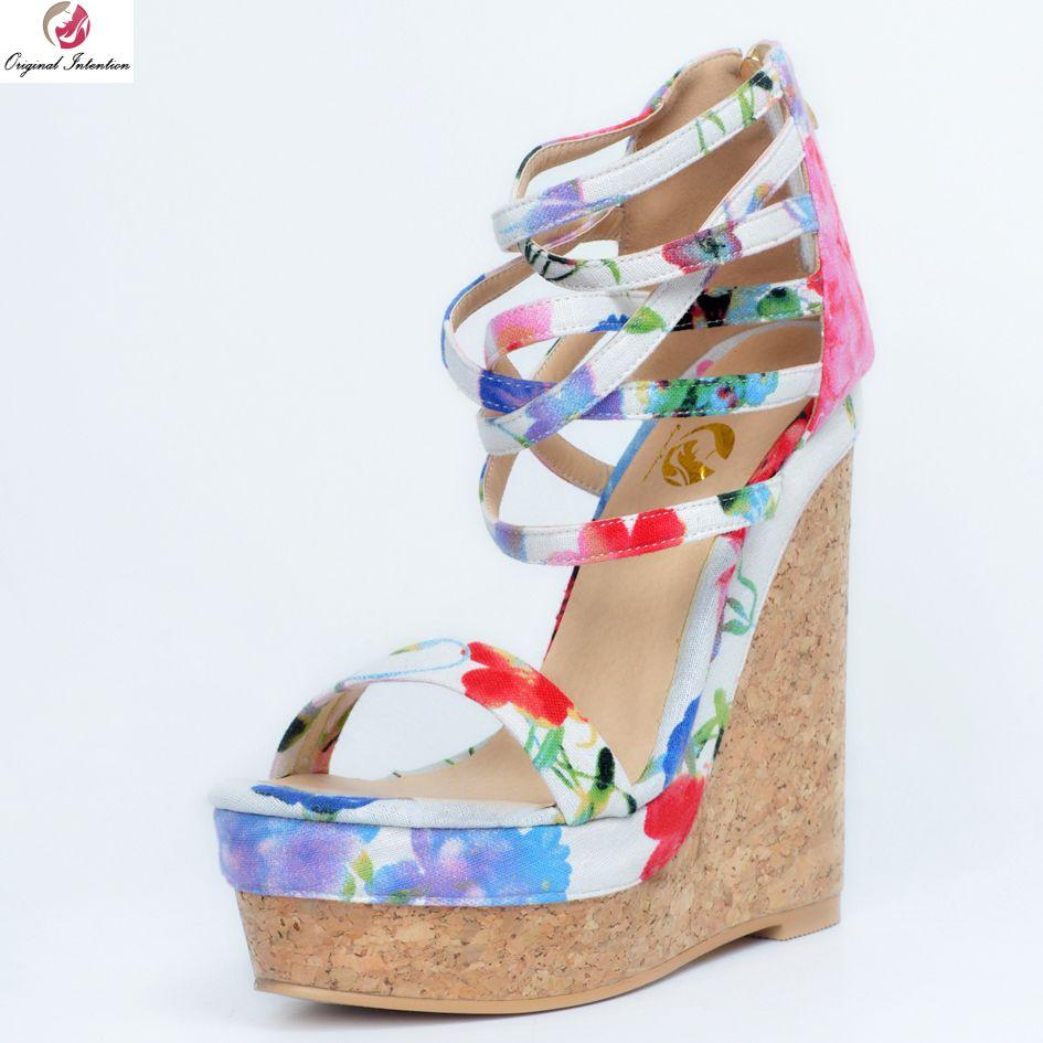 Original Intention Gorgeous Women Sandals Multicolors Platform Peep Toe Wedges Sandals Beautiful Shoes Woman Plus US Size 4-15