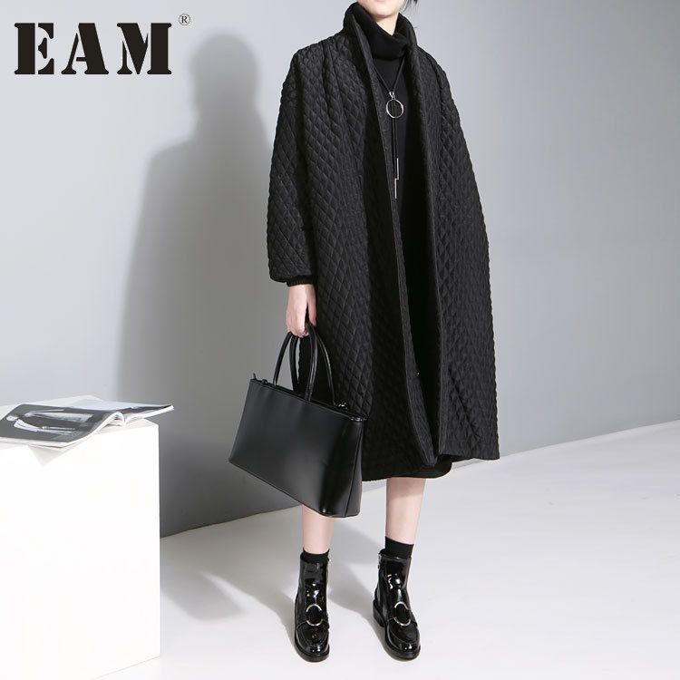 [EAM] 2018 New Large Size Temperament Solid Color Long-sleeved Long Paragraph Cotton Jacket Female WTH