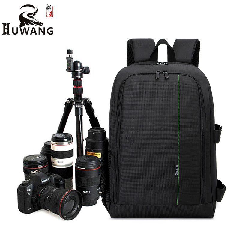 HUWANG Upgrade Waterproof DSLR Photo Padded Backpack w/ Rain Cover for 15.6
